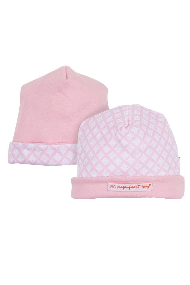 Magnificent Baby Magnetic Me™ Reversible Baby Girl Cap (Pink Diamonds)