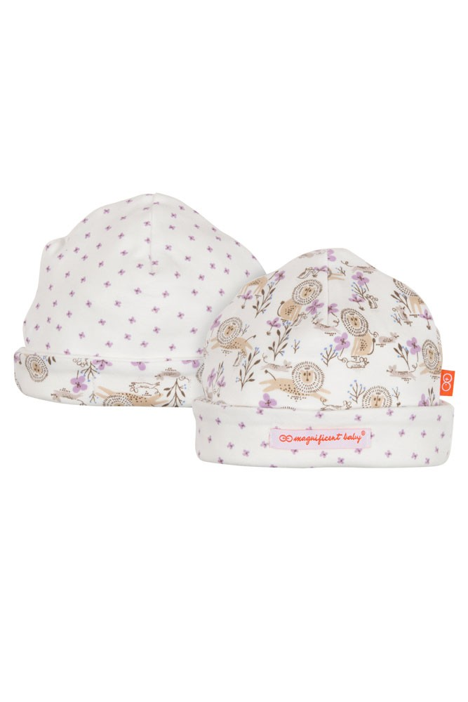 Magnificent Baby Reversible Baby Girl Cap- Lion & the Mouse (Purple)