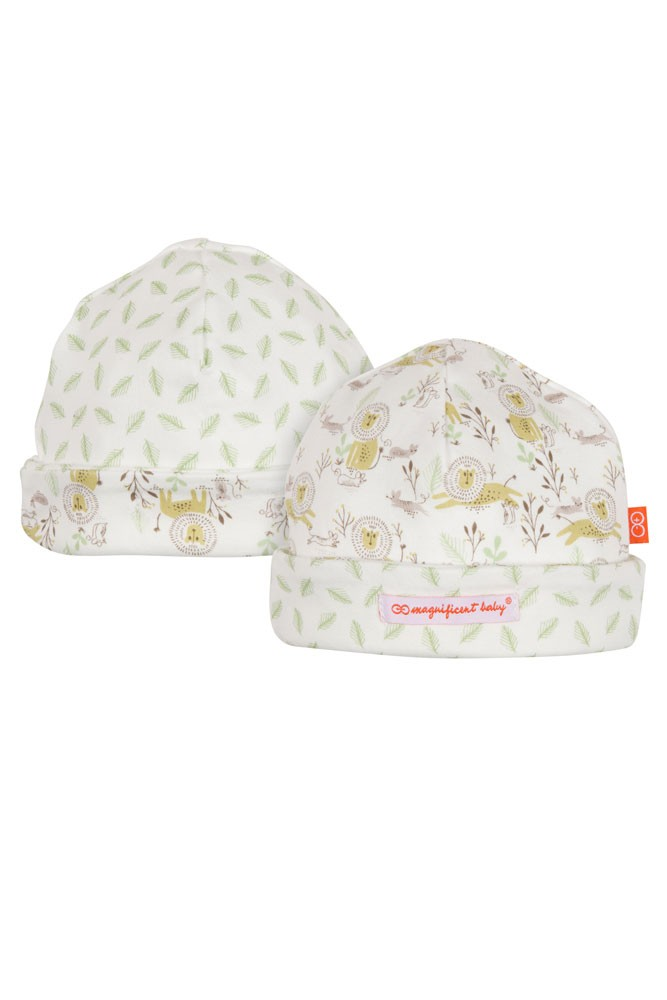 Magnificent Baby Magnetic Me™ Reversible Baby Cap- Lion & the Mouse (Green)