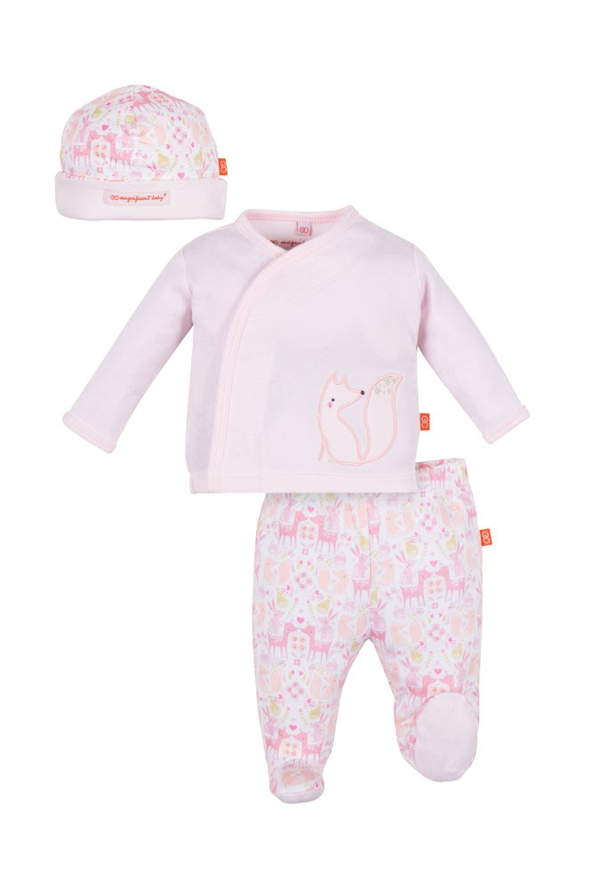 Magnificent Baby Kimono, Pant & Baby Hat Set (Damask)