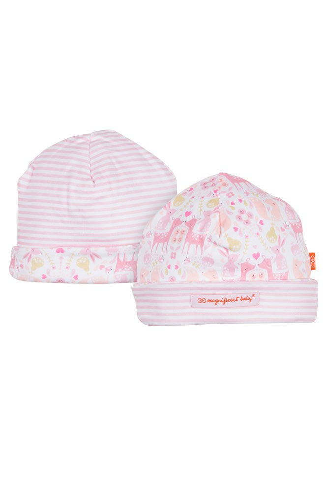 Magnificent Baby Magnetic Me™ Reversible Baby Girl Cap- Woodland Damask (Damask)