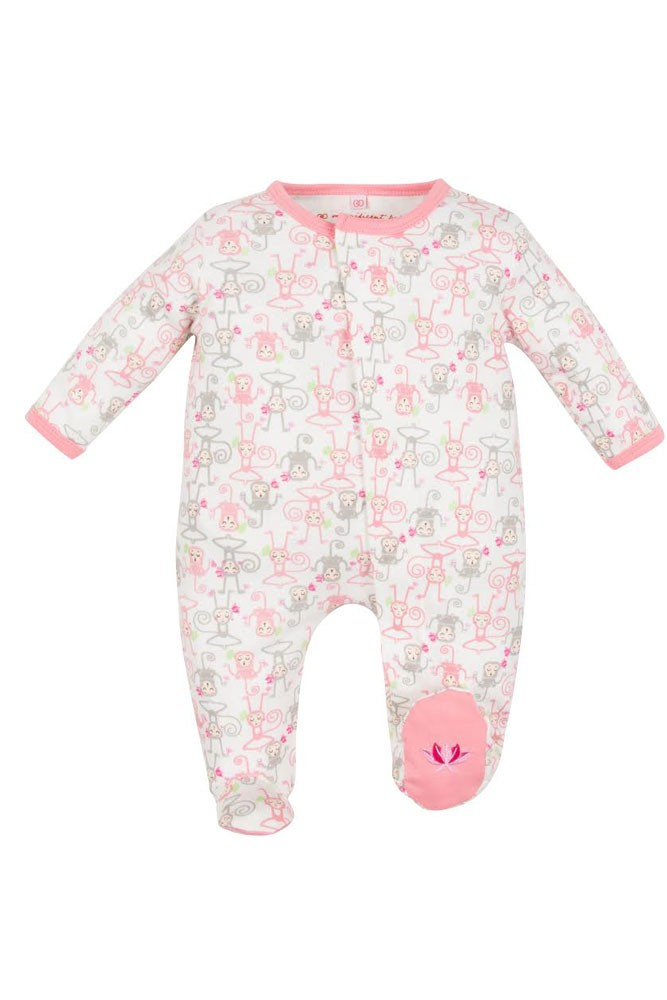 Magnificent Baby Girl's Footie- Yoga Monkeys (Pink)