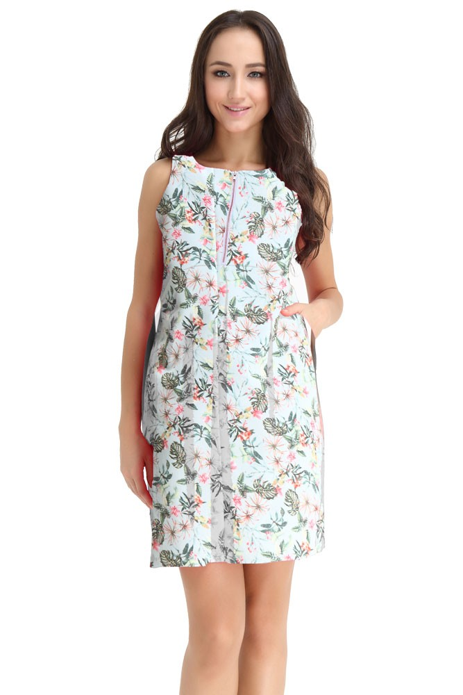 Spring Maternity Ponte Front Zip Maternity & Nursing Dress (Palm Print)