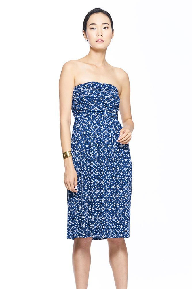 The MW Ruched Tube Maternity & Nursing Dress (Blue Clover Print)