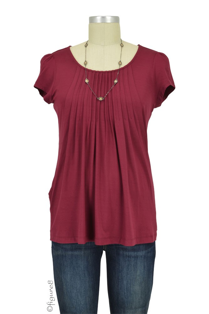 Sophie & Eve Safia Bamboo Pleated Nursing Top (Burgundy)
