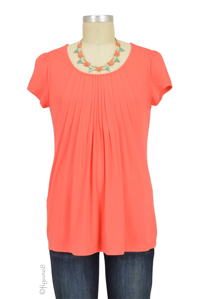 Sophie & Eve Safia Bamboo Pleated Nursing Top (Grapefruit)
