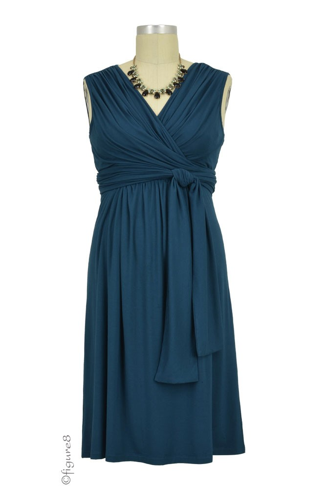 Sophie & Eve Charlotte Bamboo Wrap Maternity & Nursing Dress - Sleeveless (Midnight Forest)