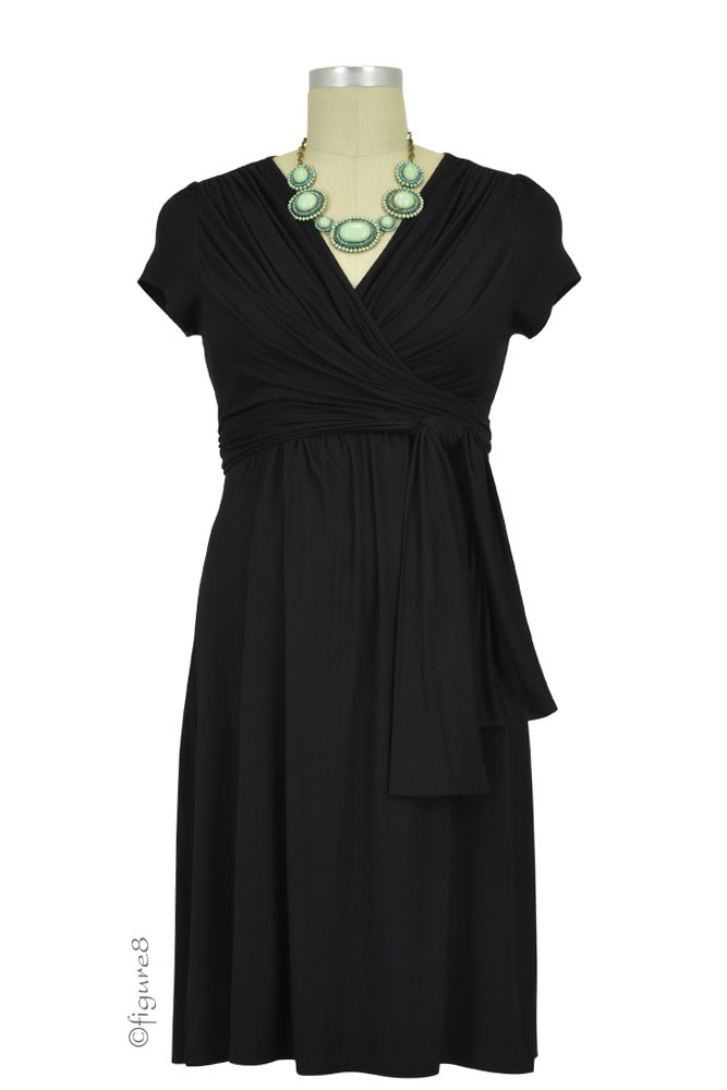 Sophie & Eve Charlotte Short-Sleeve Bamboo Wrap Maternity & Nursing Dress (Black)