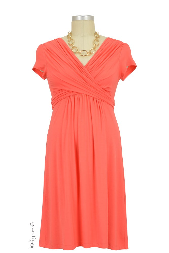 Sophie & Eve Charlotte Short-Sleeve Bamboo Wrap Maternity & Nursing Dress (Grapefruit)