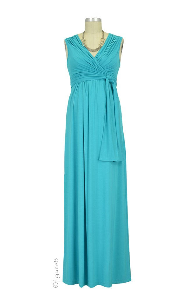 Sophie & Eve Charlotte Bamboo Maxi Maternity & Nursing Dress (Mediterranean)