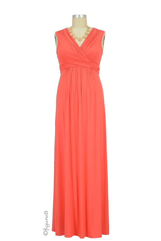 Sophie & Eve Charlotte Bamboo Maxi Maternity & Nursing Dress (Grapefruit)