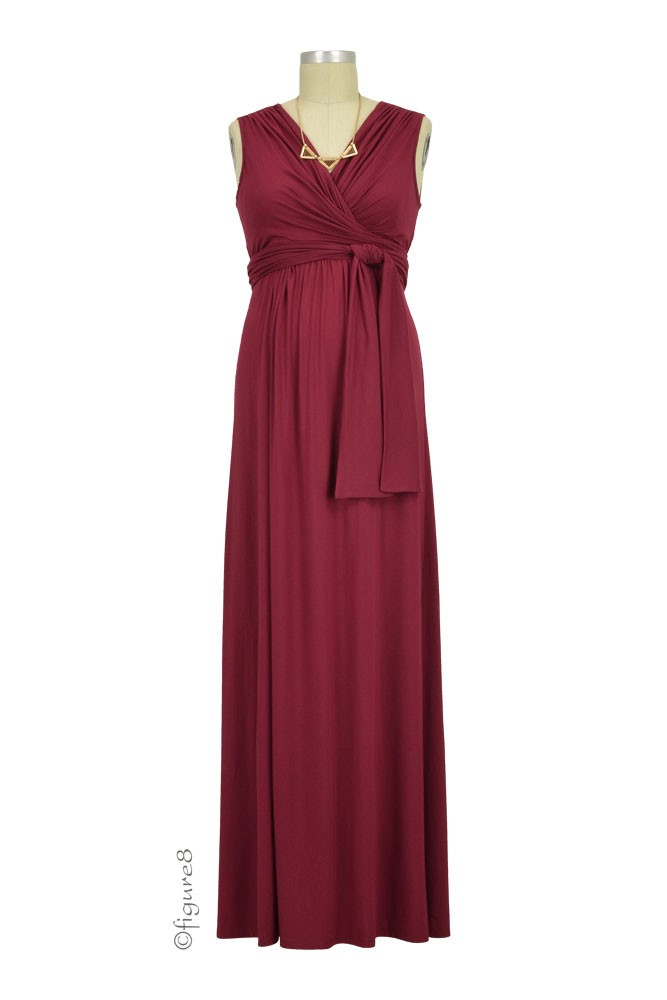 Sophie & Eve Charlotte Bamboo Maxi Maternity & Nursing Dress (Burgundy)