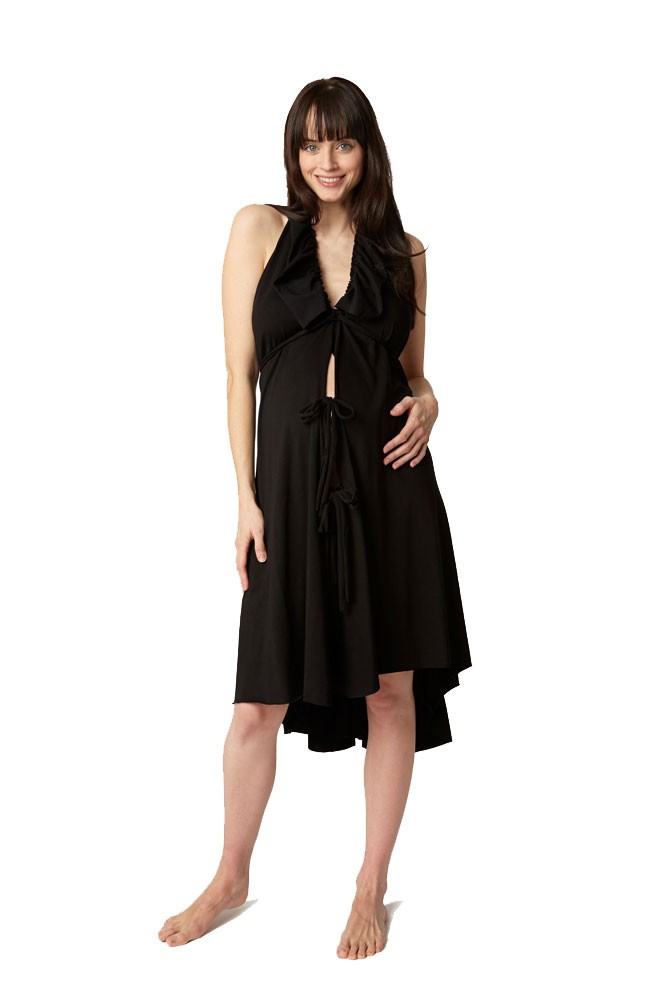 Pretty Pushers Ruffle Cotton Jersey Labor Gown - Plus Size in Black
