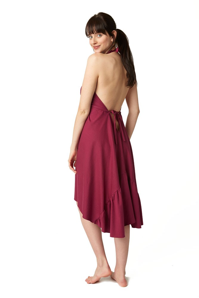 Pretty Pushers Ruffle Cotton Jersey Labor Gown - Plus Size in Wine