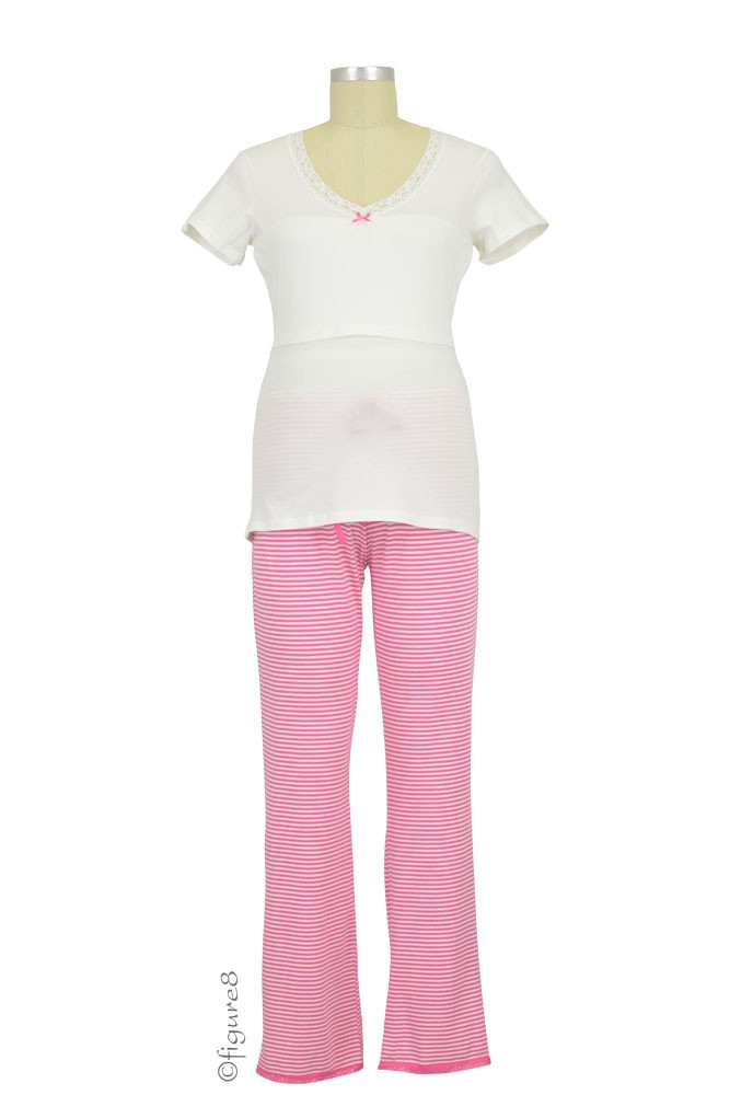 Boob Design Short Sleeve Nursing PJ Set (Off-White/Fuschia Stripe)