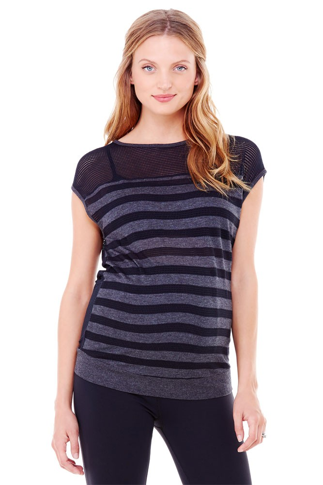 Ingrid & Isabel Stripe Mesh Maternity Top (Black & Charcoal Heather)