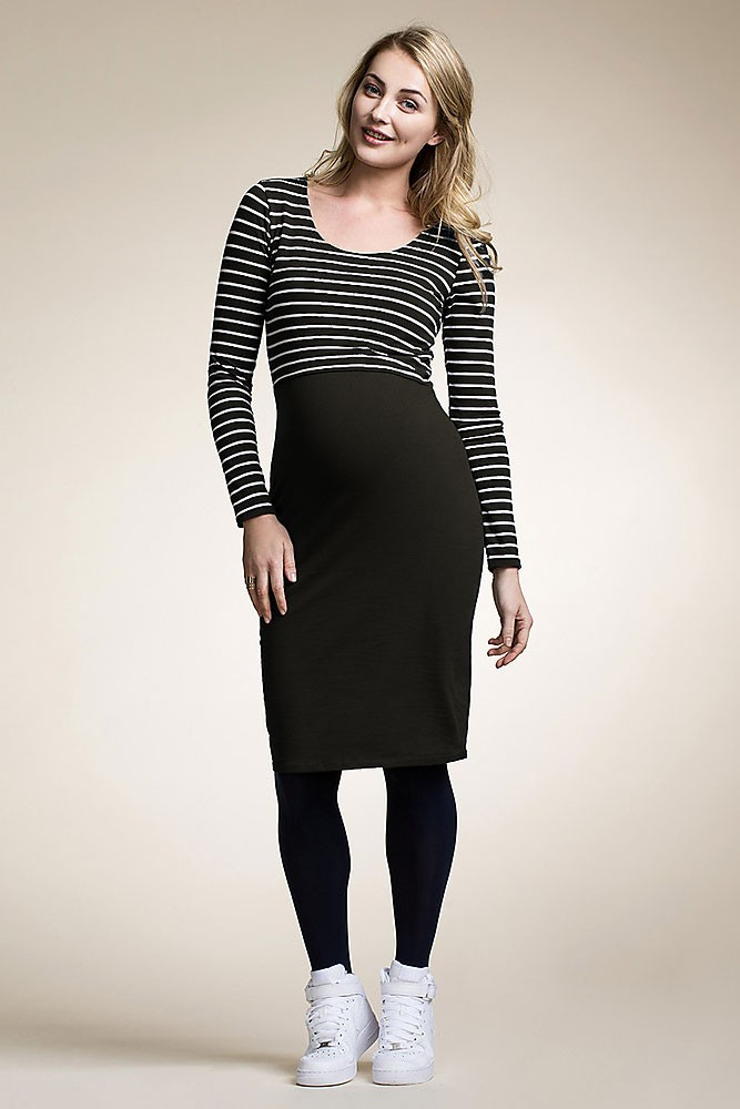 Boob Design Organic Simone Maternity & Nursing Dress (Black & Off-White Stripes)