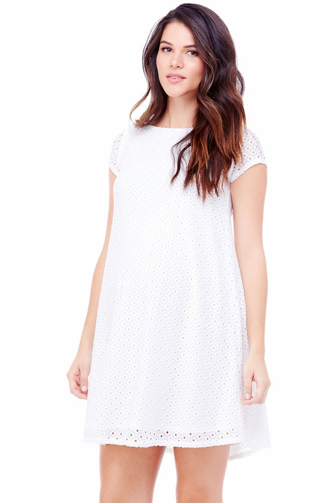 Ingrid & Isabel Lace Swing Maternity Dress (Bright White)