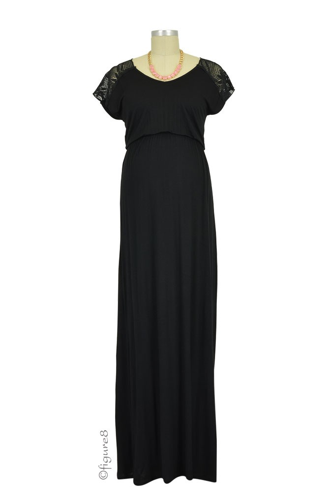 Juliet Lace Yoke Maxi Maternity Dress (Black)