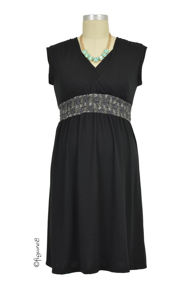 Kayla Smocked Nursing Dress (Black)