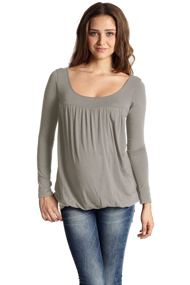 Britney Bubble Long Sleeve Nursing Top (Taupe Grey)