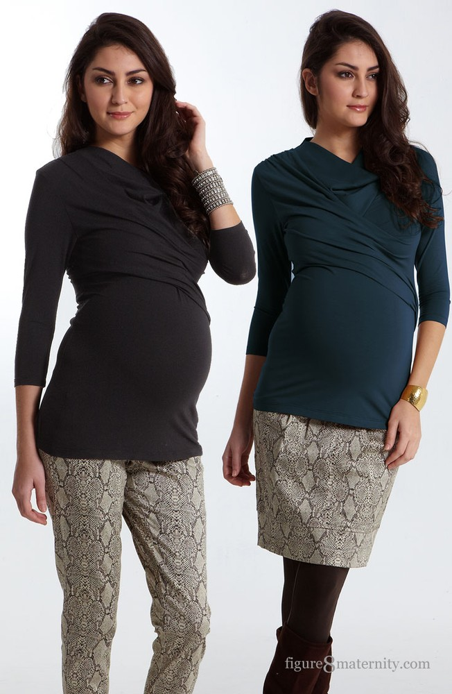 Soren Drape & Wrap Maternity & Nursing Top (Mood Indigo)