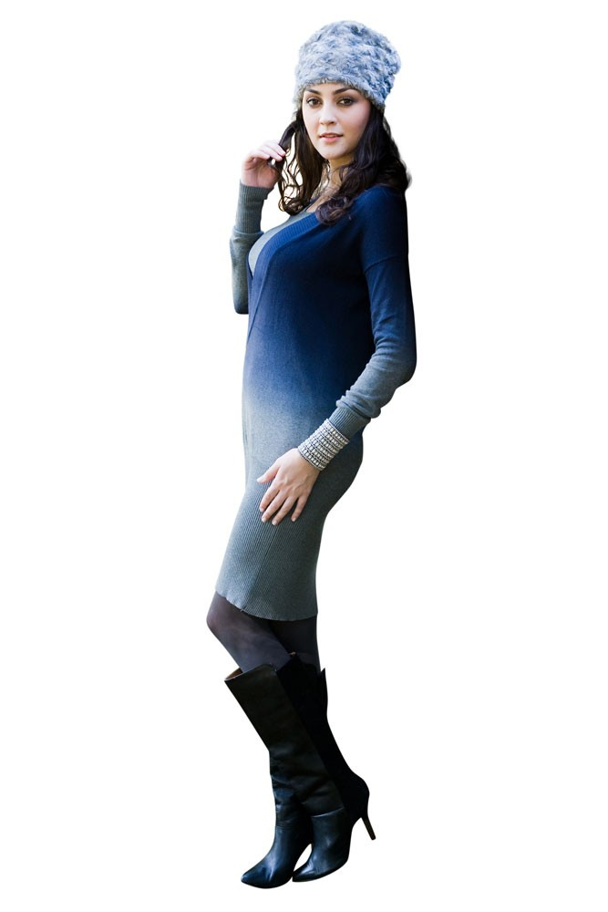 Ombre Sweater Nursing Dress (Blue-Grey Ombre)