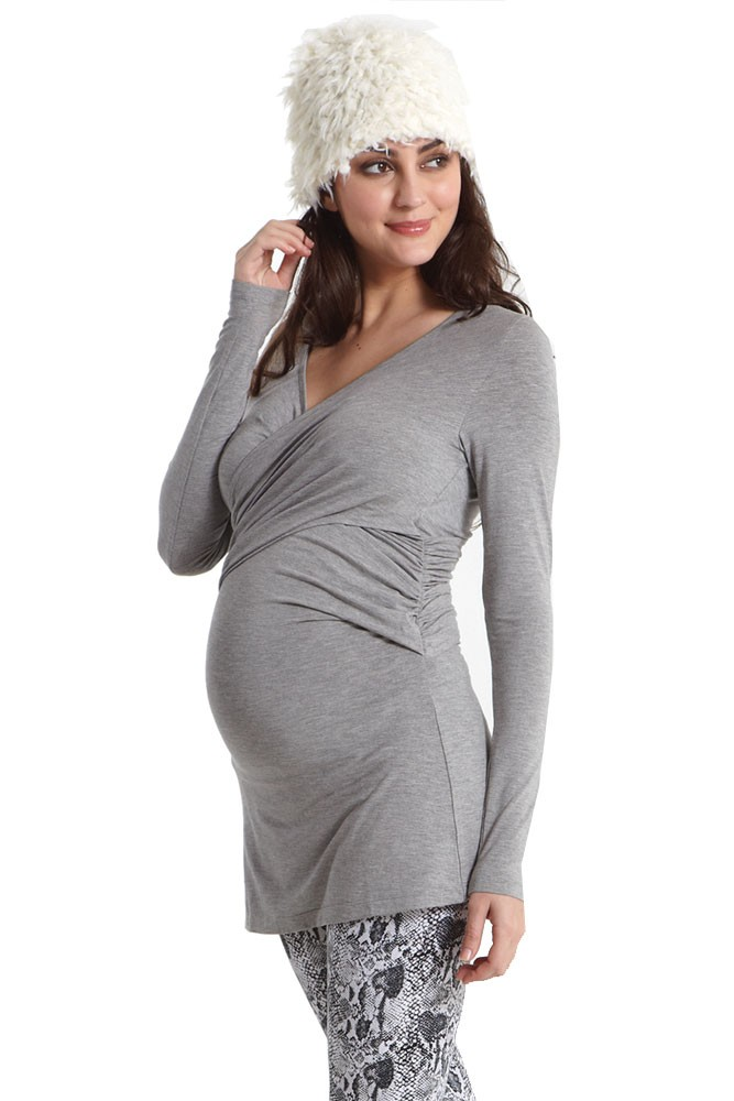 Kendra Cross-Over Maternity Top with Mesh Back (Heather Grey)