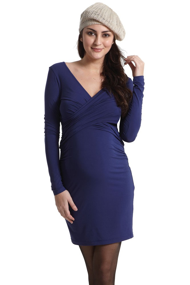 Kendra Cross-Over Maternity Dress with Mesh Back (Indigo)