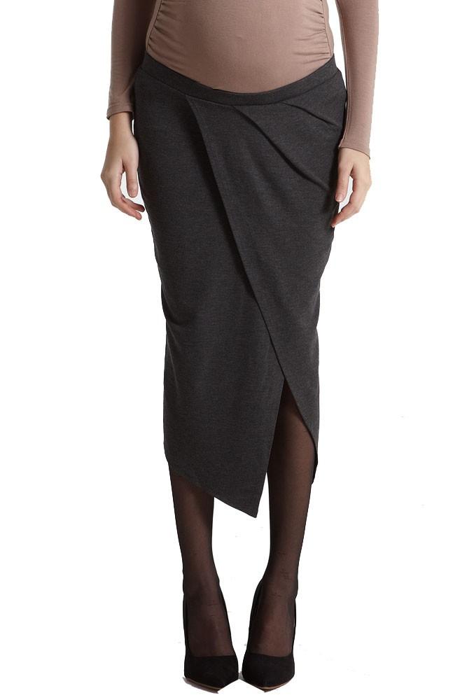 uma draped midi maternity skirt in charcoal by