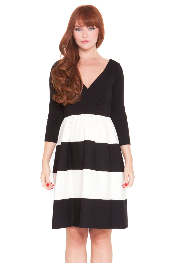 Eleanor Cross Front Colorblock Maternity Dress (Black & Ivory)