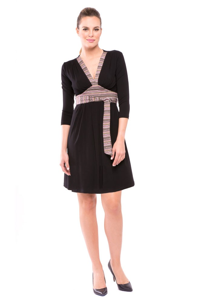 Emma Stripe Accent Maternity & Nursing Dress (Multi Color Stripes)