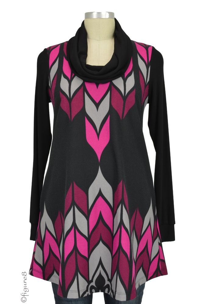 Cayenne Ponte Cowl Neck Maternity Tunic-Dress (Black, Fuchsia, Grey Print)