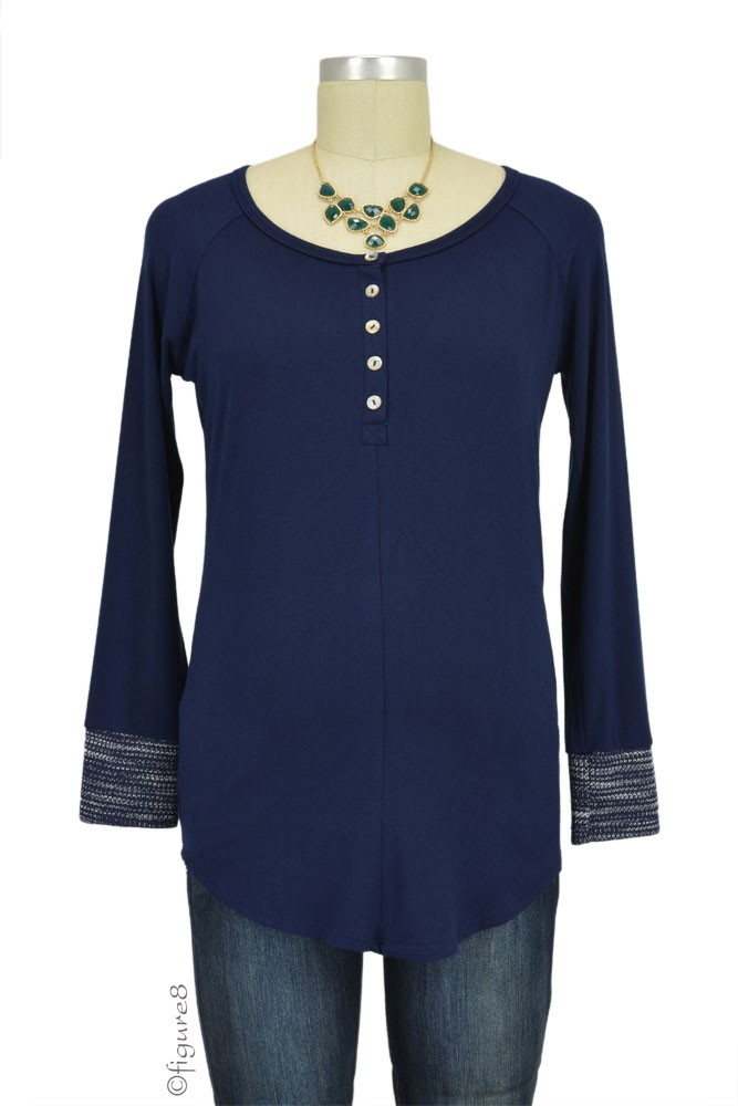 Phyllis Contrast Cuff Maternity Henley (Navy)