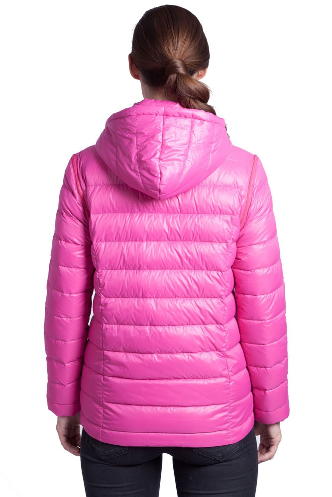 Vale 5 In 1 Lightweight Down Maternity Jacket In Raspberry
