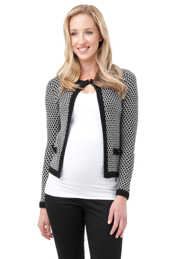 Kate Waffle Weave Cardigan In Black White By Ripe Maternity