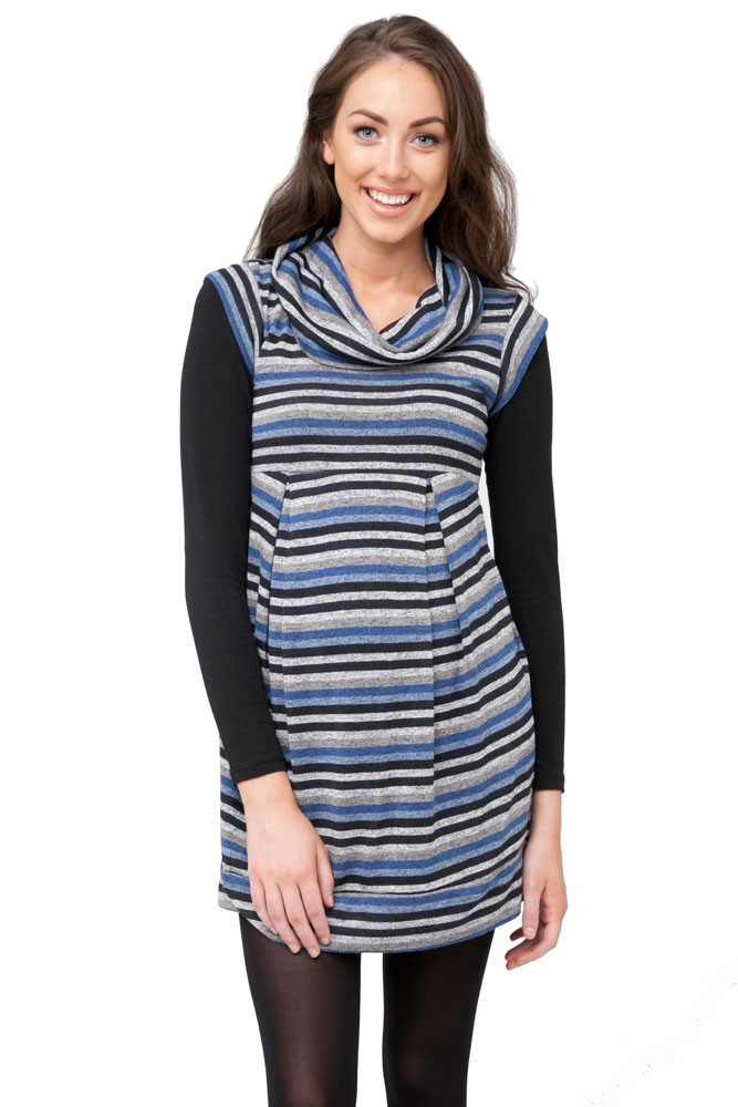 Angeline Striped Maternity Tunic-Dress (Blue Stripes)