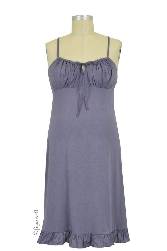 Delicious Maternity & Breastfeeding Nightdress (Slate Blue)
