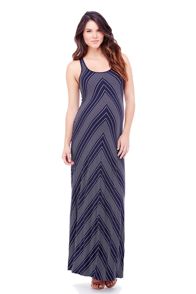 Ingrid & Isabel Stripe Racerback Maxi Maternity Dress (Chevron)