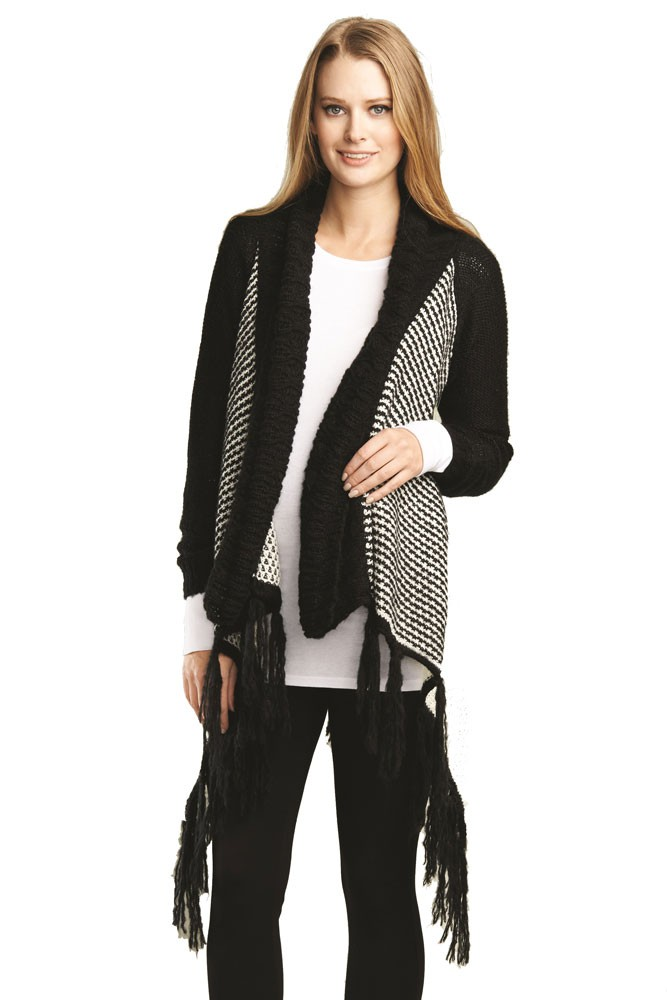 Millie Sweater Maternity Cardigan with Fringe (Black/White)