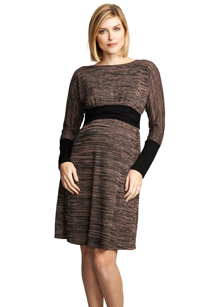 Naomi Boatneck Knitted Nursing Dress In Blush Space Dye