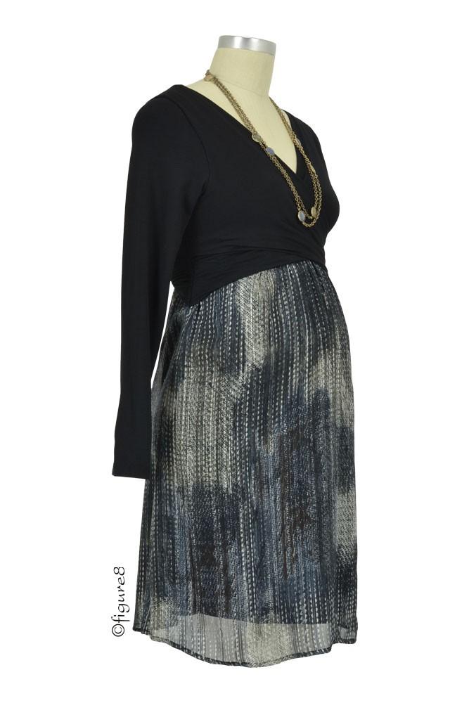 Karina Crossover Long Sleeve Nursing Dress In Black