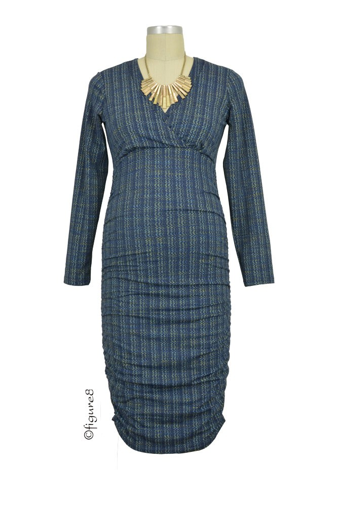 Sola Ruched Long Sleeve Maternity & Nursing Dress (Blue Ripples)