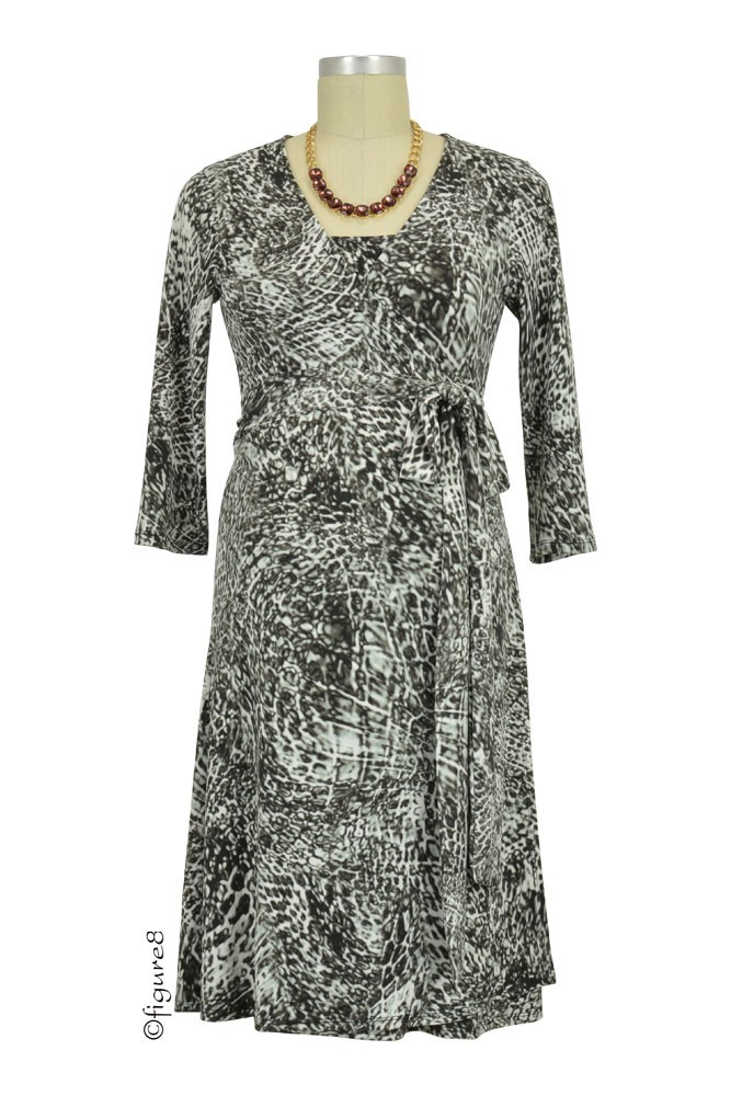 Animal Print Wrap Maternity & Nursing Dress (Cosmic Grey)