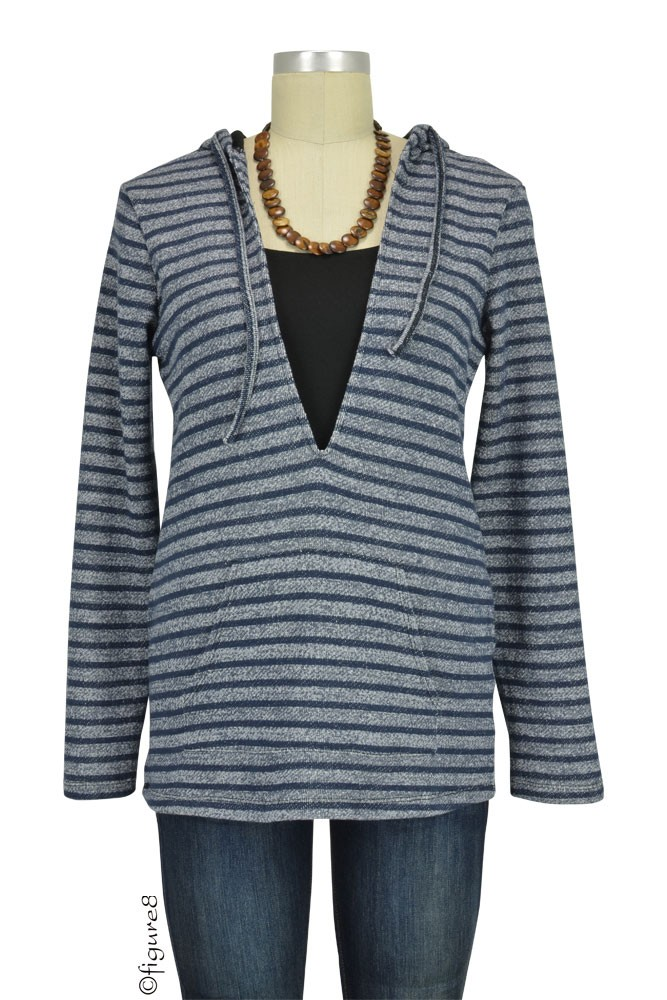 Evie Striped Terry Nursing Hoodie (Grey Stripes)
