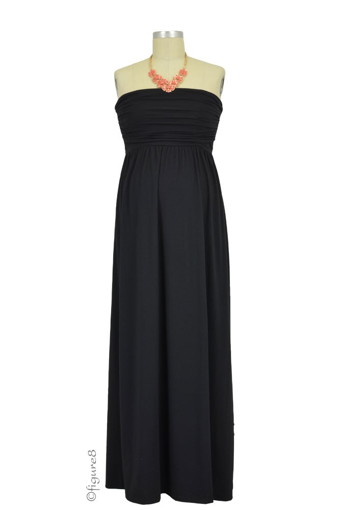 The MW Ruched Tube Maxi Nursing Dress (Black)