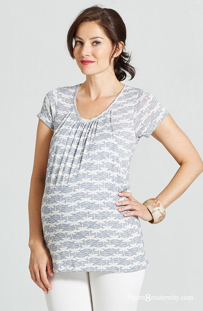 Dragonfly Print Pleated Nursing Top by Milky Way (Grey and White)