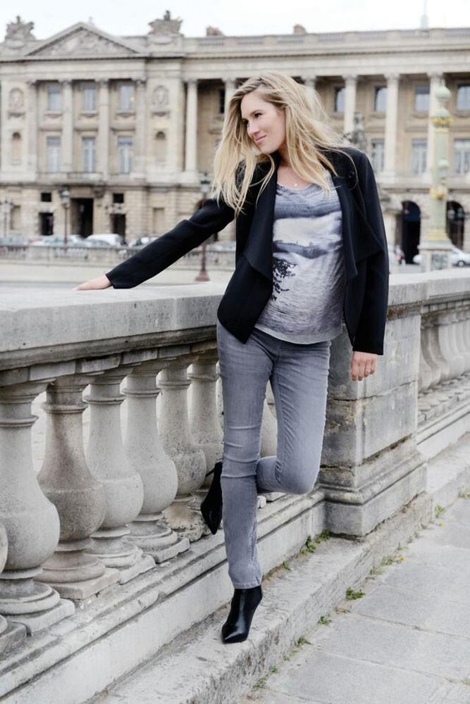 Seraphine Angelina 2 Skinny Underbelly Maternity Jeans in Grey