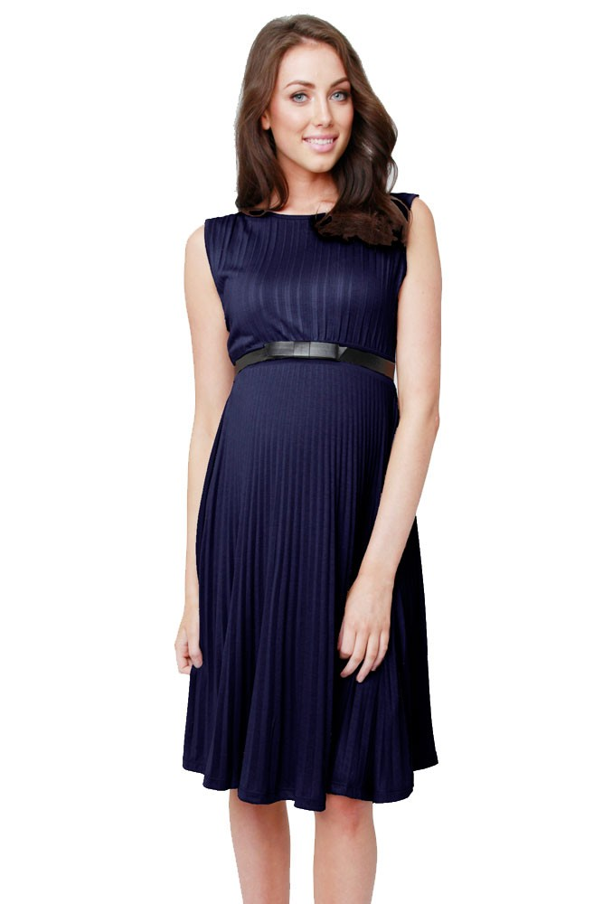 Vida Knife Pleat Maternity Dress (Blue)