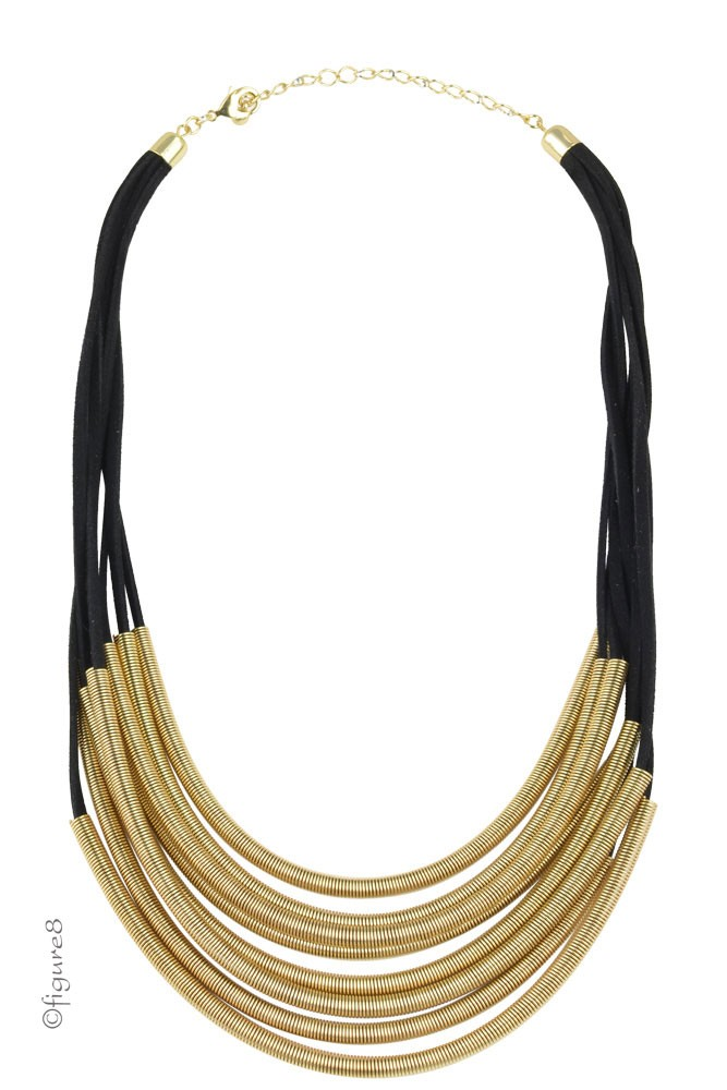Black & Gold Slinky Necklace (Black & Gold)